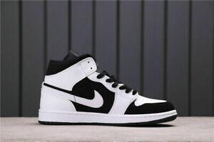 Jordan1 Mid GS & MEN Light Smoke Grey Black White Sports Shoes 554724-113