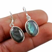 """Labradorite Solid 925 Sterling Silver Earring Jewelry 1.2"""" AE-8702"""