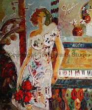 """Piano Lady, Original Modern Hand Painted Oil Painting on Canvas Art, 30"""" x 36"""""""