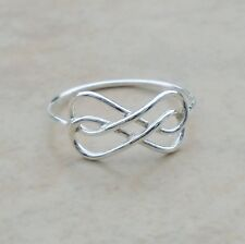 925 Sterling Silver Infinity Double Wire Ring Size 8 Band Unisex Hall No Sto New