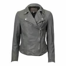 Manteaux et vestes motards gris en cuir pour femme