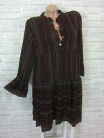 Hippie Blogger Hängerchen Kleid Tunika Volant Print 36 38 40 42 Bordeaux K460