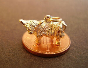 LOVELY 9K 9CT  SOLID GOLD '  HIGHLAND COW   '  CHARM FULLY HALLMARKED