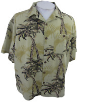 Joe Marlin Men Hawaiian camp shirt XXL pit to pit 27 aloha floral palm luau tiki