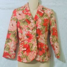 ANN TAYLOR Petites Pink Floral Print Silk Career Blazer Jacket Size 2P