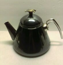 Gun Metal Grey/Black  Porcelain Coated Tea Pot  with Leaf Handle