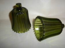 Green Ribbed Glass Votive Cups Lot of 2 Homco Home Interiors