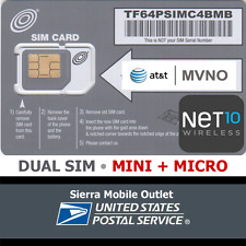 NET10 WIRELESS Dual MINI (Standard) + MICRO 3FF SIM Card • GSM 4GLTE • AT&T MVNO