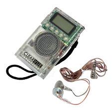 AM/FM Transparent Pocket Radio Portable Digital LCD Stereo Earphone Set