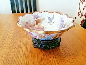 CHINESE CLOISONNE BOWL ON CARVED WOOD STAND LOTUS FLOWER DESIGN