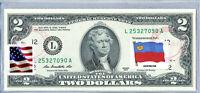 Paper Money US Two Dollar Bill Federal Reserve Bank Note Unc Flag Liechtenstein
