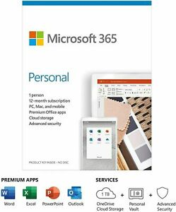 Microsoft Office 365 Personal 1 User 12 Month Licence Key 2021 Edition PC Mac UK
