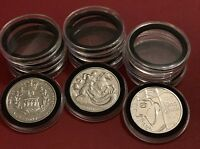45mm Clear Coins Holder Capsule+ Insert Foam For UK £5 Five Pounds Coins 1-100