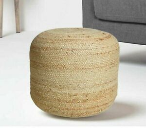 Pouf Cover Jute Hand Braided Style Ottoman Cover Decor Living Room Foot Stool