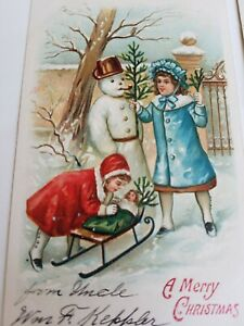 3 Vintage Postcards Christmas Victorian Kids Playing Making Snowman