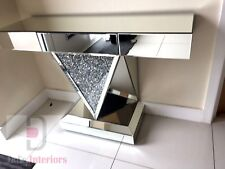 Stunning Diamond Crystals Mirrored Glass Console Table-one draw 120 x33.5 x 80cm