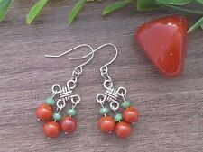 RED JASPER Gemstone + Green Crystal Chinese Lucky Knot Dangle Earrings Feng Shui