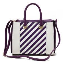 Hue and Ash Top Handle Satchel Handbag Purse Womens Stripes Stripes Ladies