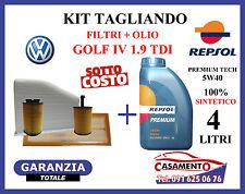 KIT TAGLIANDO OLIO MOTORE REPSOL 5W40 + FILTRI VOLKSWAGEN VW GOLF IV 1.9 TDI