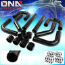 "2.5""TURBO FRONT/SIDE MOUNT INTERCOOLER BLACK DIY 8PC ALUMINUM PIPING+HOSE+CLAMP"