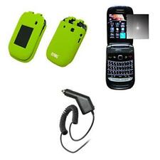 for BlackBerry Style Green Silicone Case+Mirror Screen Protector+Car Charger