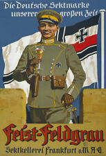 More details for wa57 vintage wwi german soldier champagne advertising poster ww1 a1 a2 a3