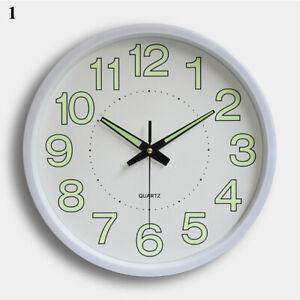 "12"" Round Luminous Wall Clock Glow In The Dark Night Light Silent Quartz Clocks"