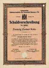 Ilmenau Gemeinde 1923 Licht Wasser Koks Realwertanle Thüringen 20 Zentner Koks