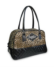 ROCKABILLY PIN UP GIRL LEOPARD PRINT PADDED LEATHER BOWLING DESIGNER HANDBAG BAG