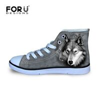 Womens Ladies Grey Wolf Casual Canvas Shoes Flat Hi Tops Trainers Walk Size 2-8