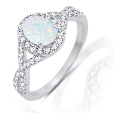 White Fire Opal Simulated Diamond Halo Sterling Silver Infinity Engagement Ring