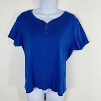 Karen Scott Womens Top Sz L Royal Blue Button V Neck  Short Sleeve Cotton LZ30