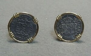 Mexican 1 Real Coin Cufflinks in 14k