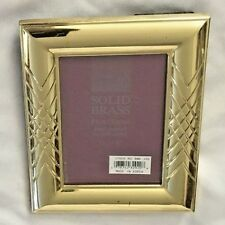 """Goldtone 5 X 6.5"""" Brass Metal Criss-Cross Picture Frame Holds 3 1/2"""" X 5"""" Photo"""