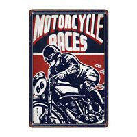 Metal Tin Sign motorcycle races Bar Pub Home Vintage Retro Poster Cafe ART