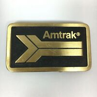 Vtg AMTRAK Brass Belt Buckle National Railroad Passenger Corporation Train USA