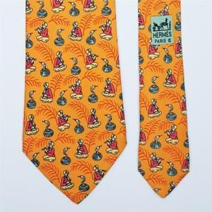 HERMES TIE 7485 IA Snake Charming on Orange Classic Silk Necktie
