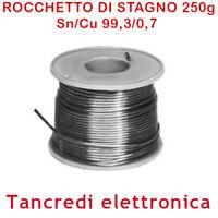 STAGNO ROCCHETTO 99,3/0,7 SN CU 250GR 1MM SALDARE SALDATURA RAME LEAD FREE