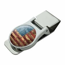 American Flag Patriotic USA Collage Satin Chrome Plated Metal Money Clip