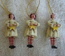 "3 Mary Beth Braxton 2"" Miniature Folk Art Rag Doll Christmas Tree Ornaments"