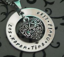 Personalised Hand Stamped Small Family Names any Wording Filigree Heart Pendant