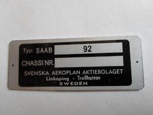 Id Nameplate Saab 92 9-2 9 2 Chassi Nr.schild S2