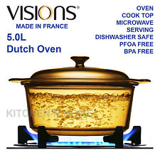 Visions Glass Dutch Oven, 5.0L Casserole,Cook Pot,Glass Cookware, Made in France