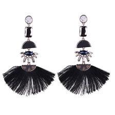 Women Bohemian Earring Vintage Black Tassel Fringe Boho Dangle Earrings Jewelry