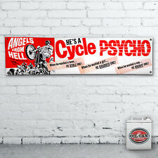 Cycle Psycho Banner  –  heavy duty for workshop, garage, 1700 x 430mm