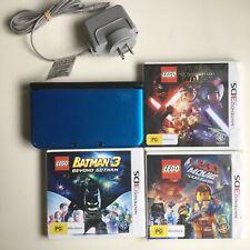 Nintendo 3DS XL Blue Console + 3 Games Star Wars, Lego Batman 3, Lego movie #565