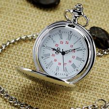 Silver Round Vintage Watch Pocket Watch For Men Children Best Gift Watch w/Chan