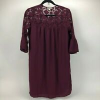 Pleione Anthropologie Dress Burgandy 1/4 Bell Sleeve Laced Detail Womens Size XS