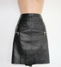 Women's Vintage HALLHUBER Above The Knee Black 100% Leather Skirt UK12 UK14 W33