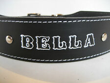 LEATHER DOG COLLAR WITH PERSONAL NAME HIGHLIGHTED